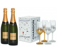 Kit 2 garrafas de Chandon 750ml + Chandon Box com 4 Taças Exclusivas 750ml