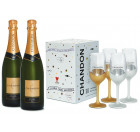 Kit 2 garrafas Chandon Brut 750ml + Chandon Box com 4 Taças Exclusivas
